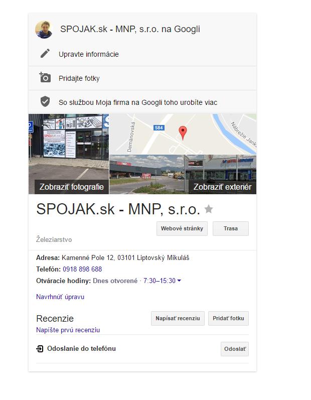 Vyplnenie profilu na google