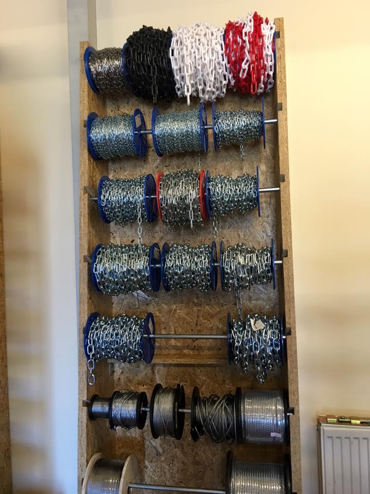 hospodárske reťaze, oceľové a konopné laná