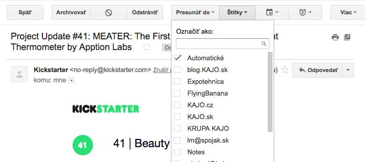 triedenie pošty - gmail tags