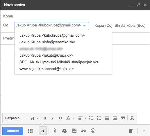 Gmail - odosielajte správy z vlastnej emailovej adresy.