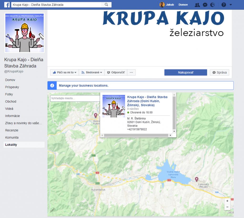 multilokality na facebook fanpage