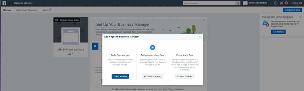 Pridanie stránky do facebook business manager