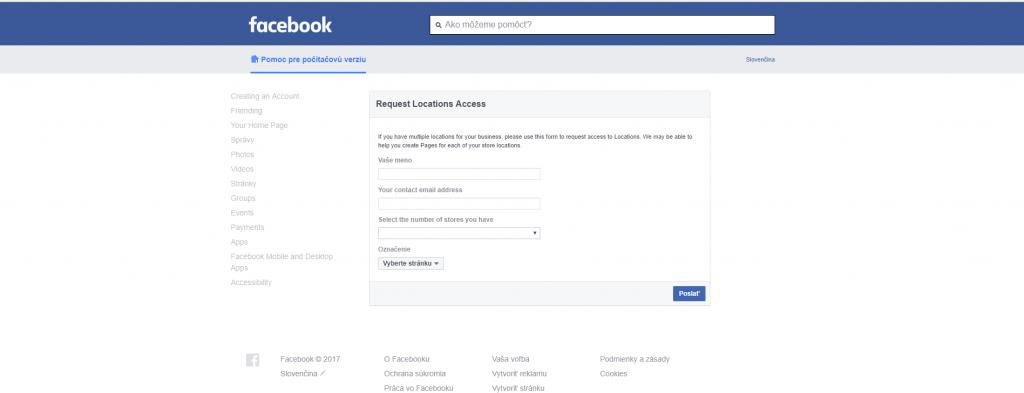 žiadosť o sprístupnenie facebook business locations
